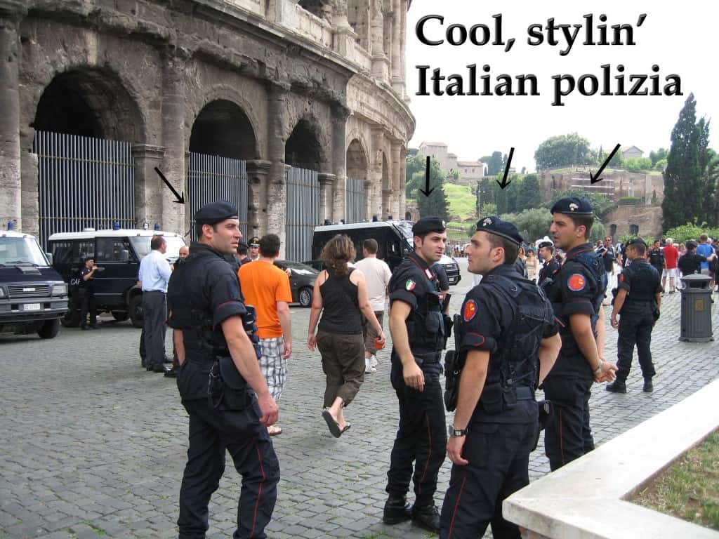Italian police looking cool