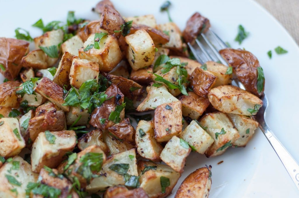 Lemon Garlic Roasted Potatoes with Herbs