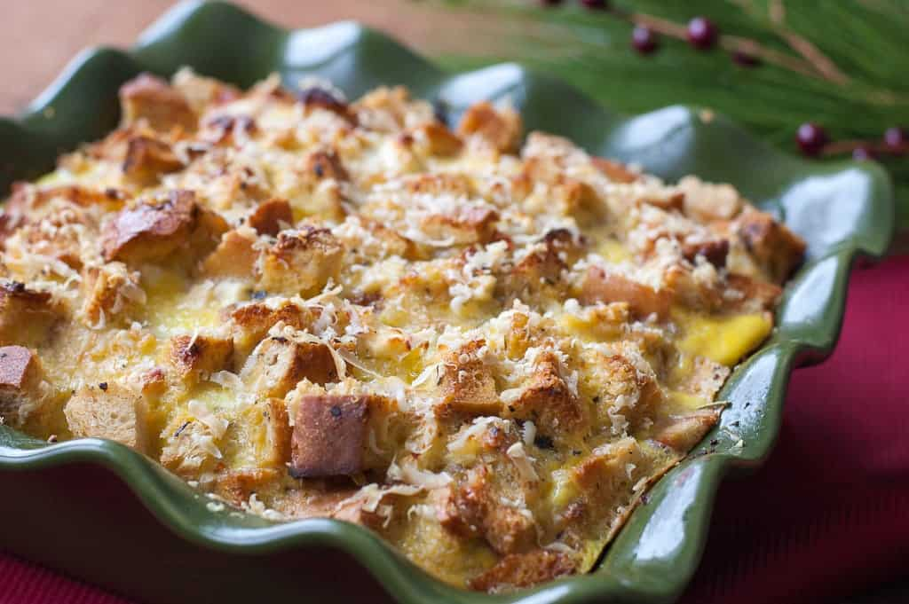 Breakfast Strata with sausage, artichoke hearts, and feta
