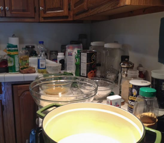 Dirty kitchen fiasco after experimenting with fried zucchini recipes