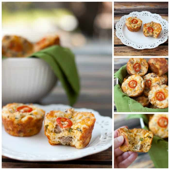 Breakfast Muffins with Sausage, Cheddar & Green Onions - thekitchensnob.com #breafast #muffins #recipe