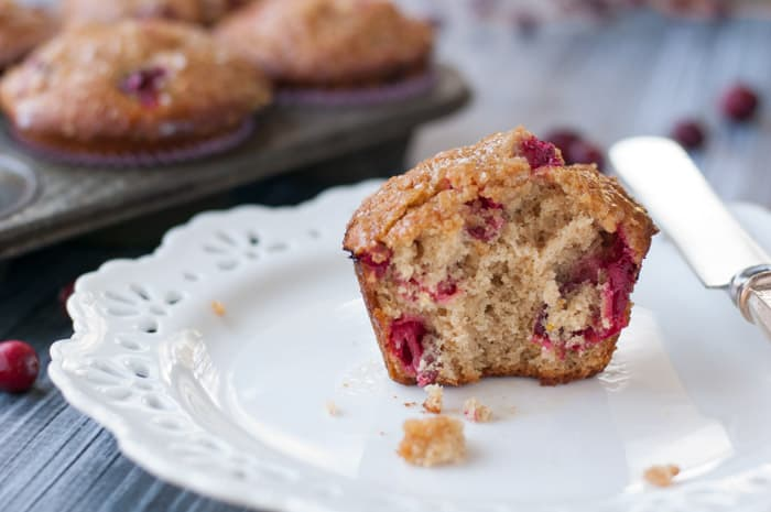 Fall Spiced Cranberry Muffins with Tangerine Glaze - so moist and yummy! thekitchensnob.com