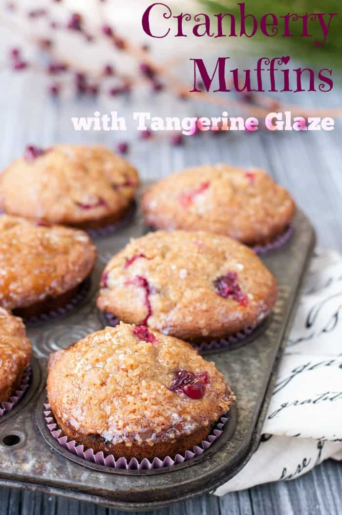 Fall Spiced Cranberry Muffins with Tangerine Glaze - so moist and yummy! #Thanksgiving #holiday #recipes
