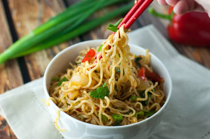 Spicy Ramen Noodles - such an easy recipe to make with sweet onions & red peppers!