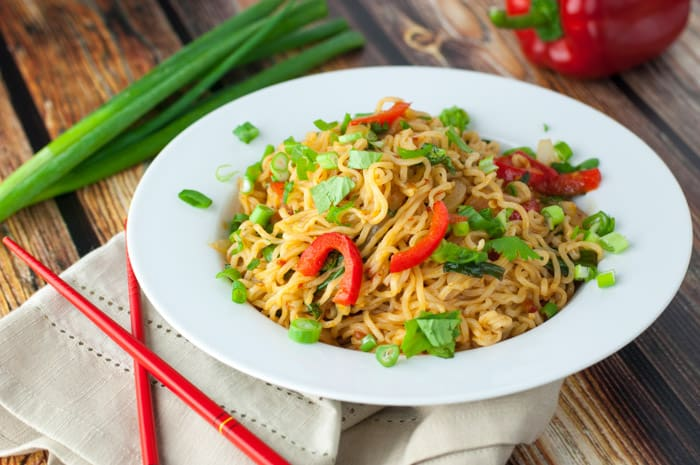 Spicy Ramen Noodles - easy recipe to make with sweet onions & peppers!