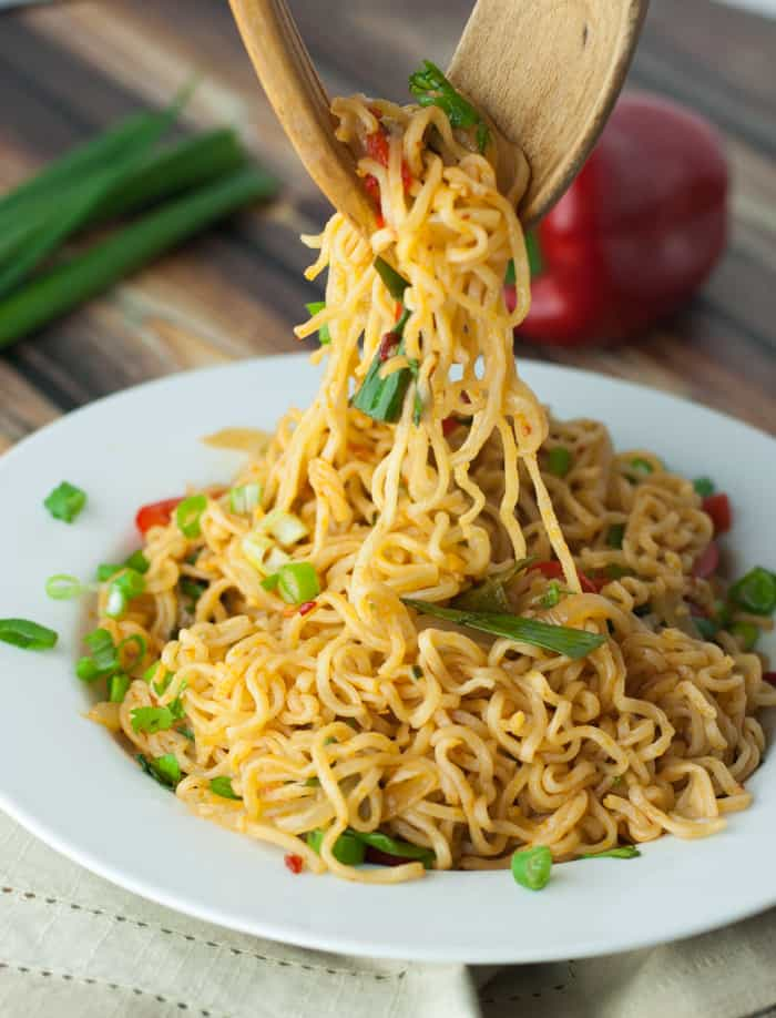 Spicy Ramen Noodles with Sweet Onions & Peppers