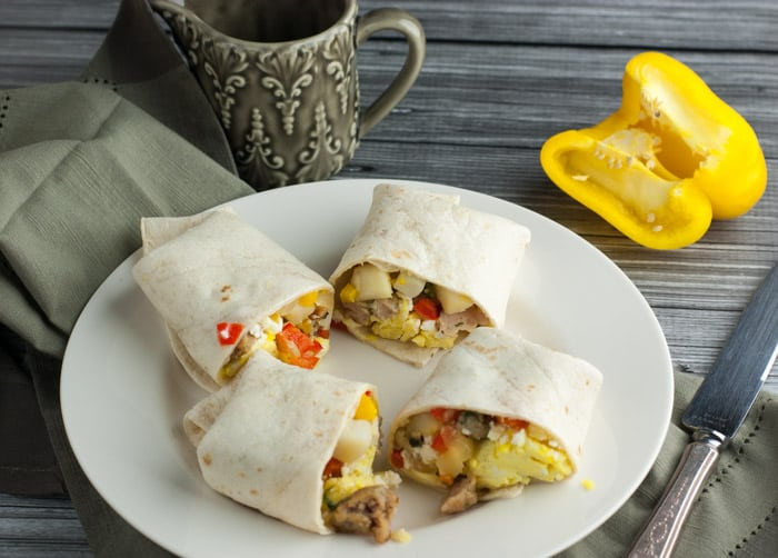 The ultimate 2 minute breakfast - Freezer Breakfast Burritos with chicken sausage, peppers, and feta - ready to eat in 2 minutes!