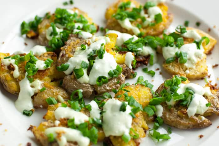 Smashed Potatoes with Jalapeno Lime Aioli - this recipe is so flavorful! Spicy!