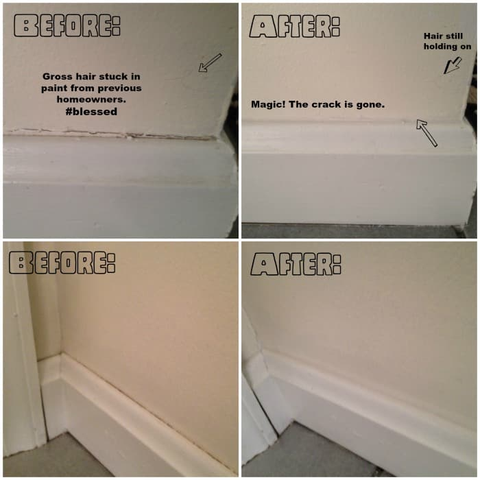 Before and after pictures of caulking baseboards