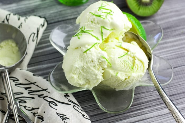 Kiwi Lime Ice Cream - so refreshing! Also a great soft serve ice cream recipe.