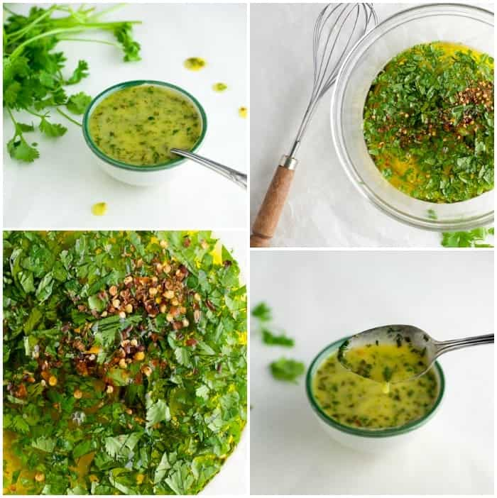 Collage of various photos showing the ingredients for honey lime cilantro sauce before it's mixed and after it's mixed