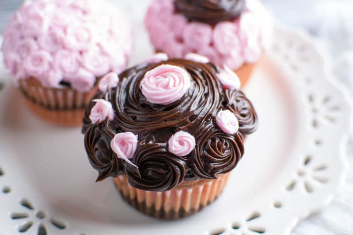 The Best Impressive Fancy Cupcakes for a party or take them any place you want to impress! Strawberry & chocolate fudge recipe has the perfect colors for Breast Cancer Awareness Month.