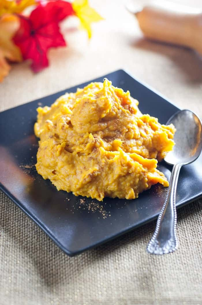 Mashed Butternut Squash recipe with cinnamon and garlic. Sweet and salty with a touch of spice. Delicious!