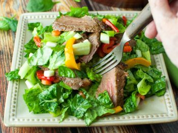 Poor Man's Steak Salad with sauteed bell peppers with red wine vinaigrette - a perfect recipe for a sugar free diet or if you're doing the Fed Up Challenge