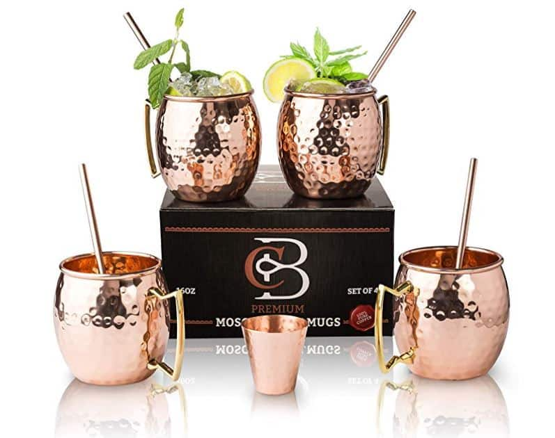 set of 4 copper mugs with a copper shot glass for Moscow Mules