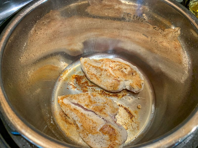 Two seared chicken breasts at the bottom of an Instant Pot