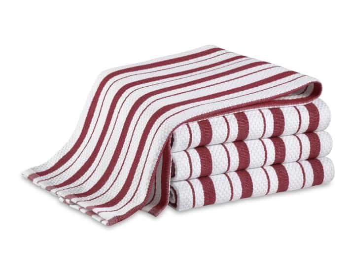 Red and white striped dish towels