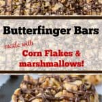 a slice of butterfinger cereal bars with drizzled chocolate on top